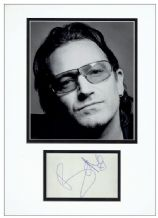 Bono Autograph Signed Display - U2